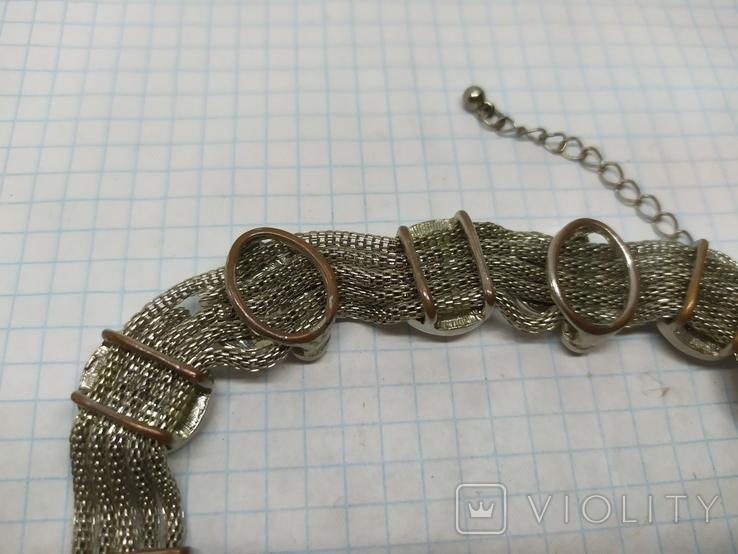 Браслет на витых полых цепочках с декором из камней. (3), фото №9