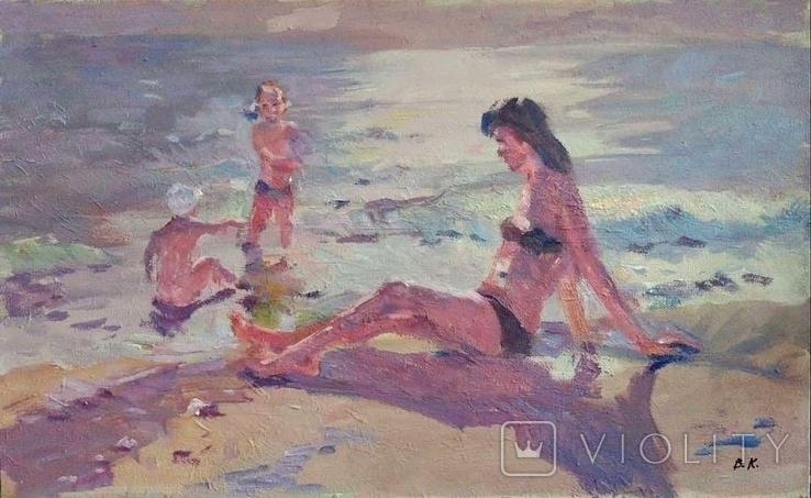 "1990,Кнышевский В.""На пляже"",х.м.40*65см, фото №2"