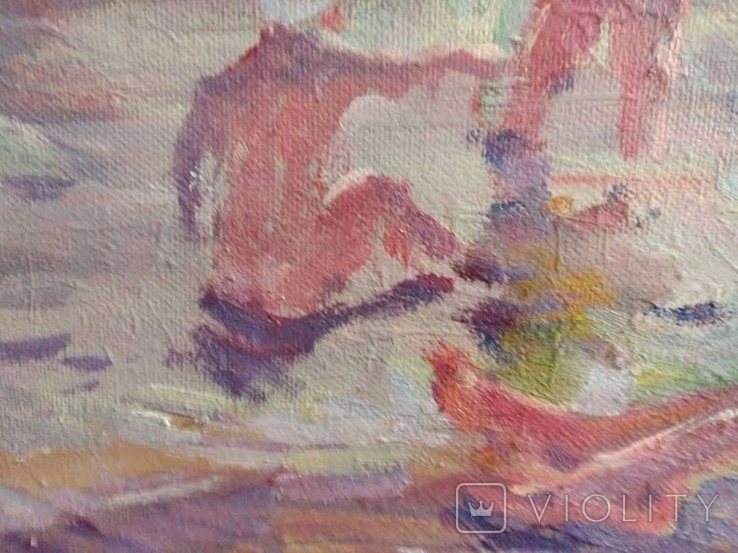 "1990,Кнышевский В.""На пляже"",х.м.40*65см, фото №3"