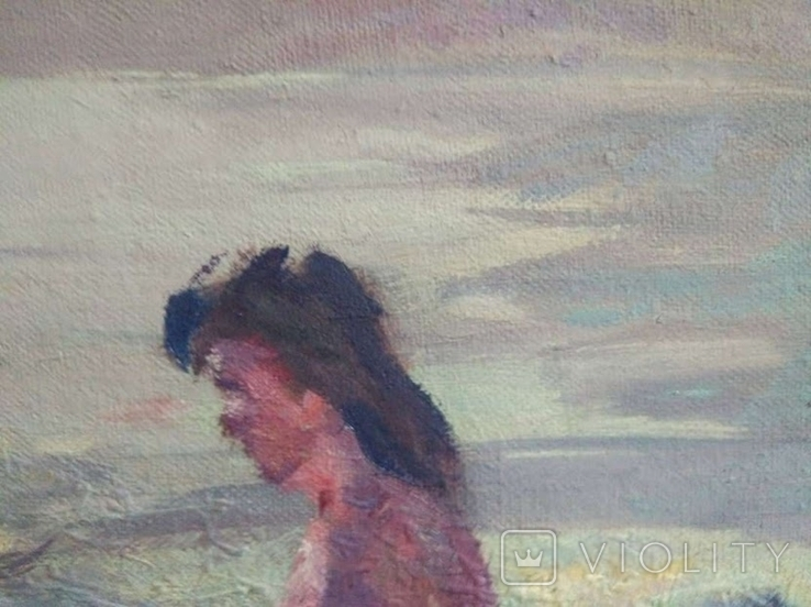 "1990,Кнышевский В.""На пляже"",х.м.40*65см, фото №6"
