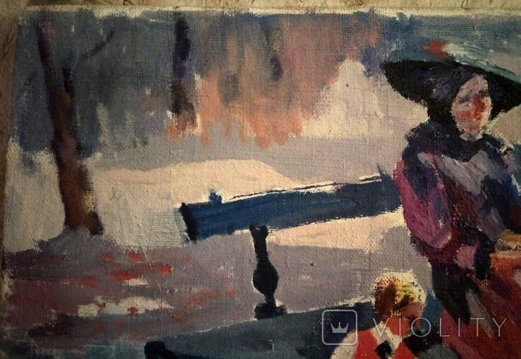 """1990,Кнышевский В.""""В сквере"""",х.м.40*65см, фото №3"""