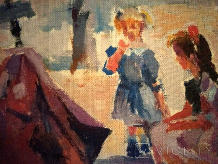 """1990,Кнышевский В.""""В сквере"""",х.м.40*65см, фото №6"""