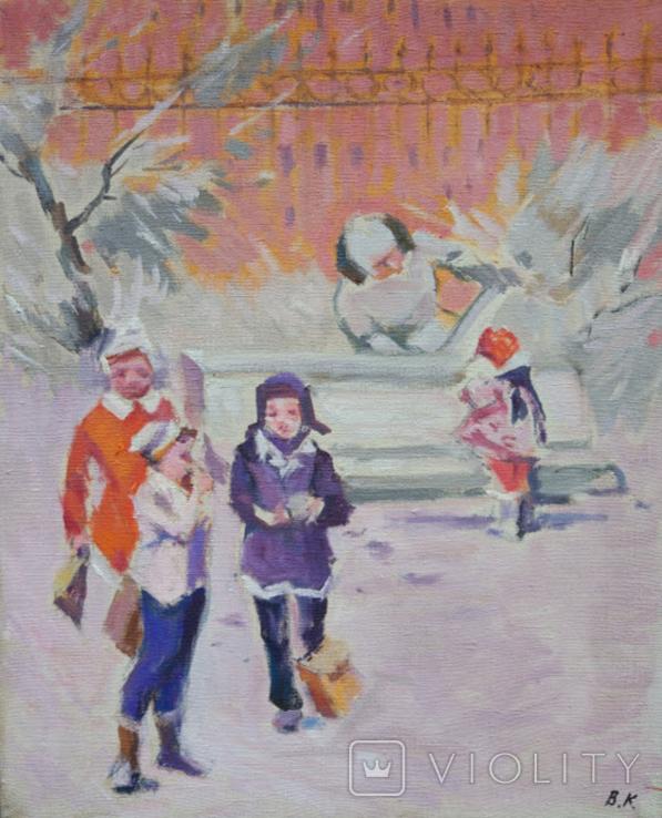 """1985,Кнышевский В.""""Зима"""",х.м.44*54см, фото №2"""