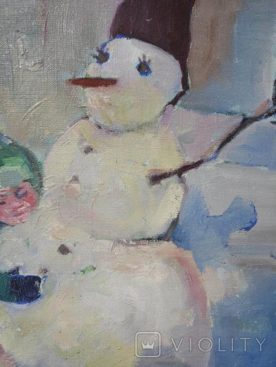 """Картина """"Снеговик"""",х.м.60*50см, фото №6"""