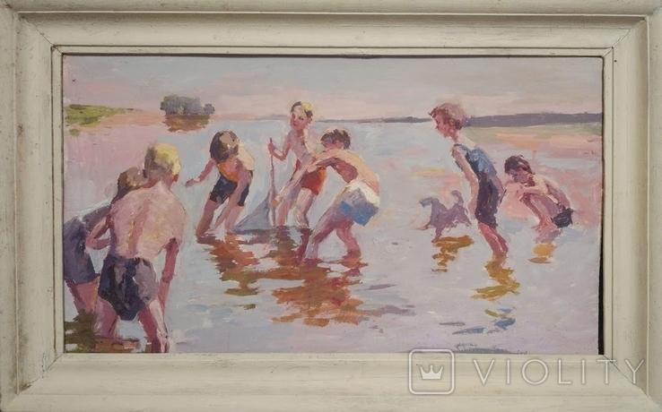 """1987,Кнышевский В.""""Рыбаки"""",орг.м.47*79см, фото №2"""