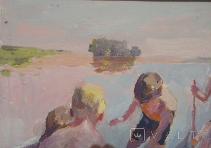 """1987,Кнышевский В.""""Рыбаки"""",орг.м.47*79см, фото №3"""