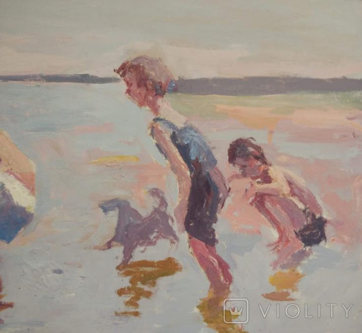 """1987,Кнышевский В.""""Рыбаки"""",орг.м.47*79см, фото №6"""