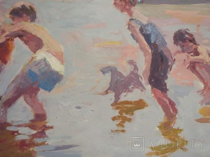 """1987,Кнышевский В.""""Рыбаки"""",орг.м.47*79см, фото №8"""