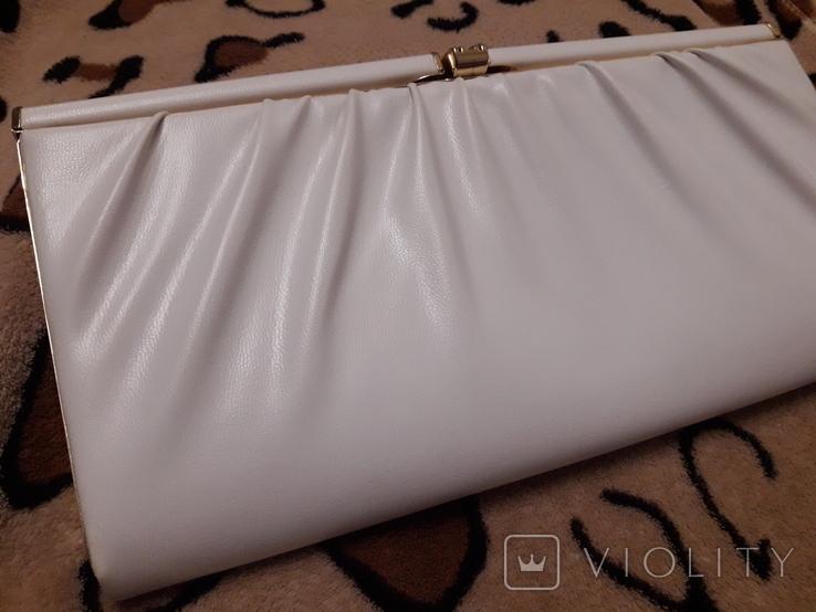 Белый клатч Salisburys Англия с чехлом для хранения, фото №3