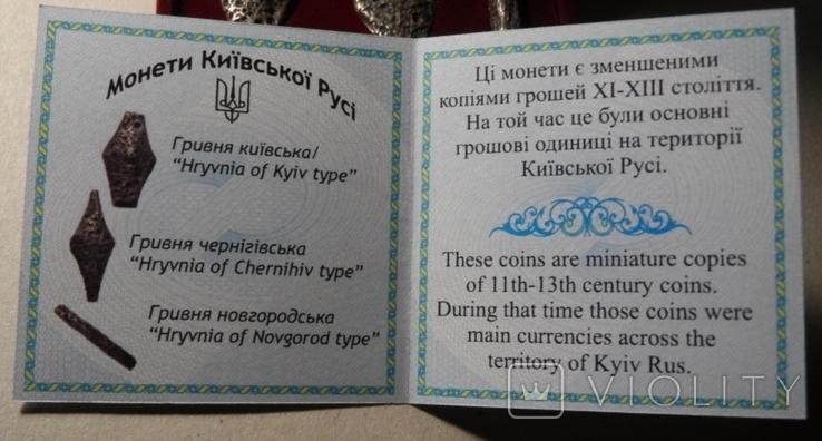 Набор монет серебро гривня київська чернігівська новгородська футляр 2020 набор Копии, фото №6