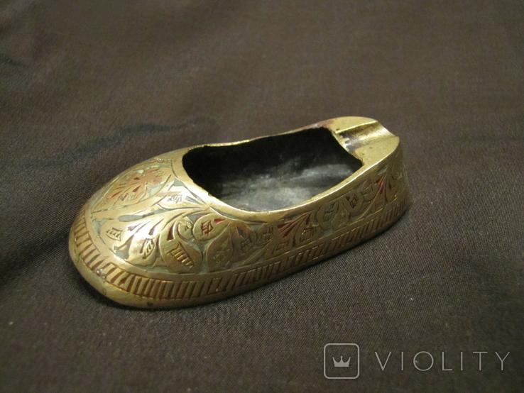 Пепельница башмак, туфель латунь Индия, фото №2
