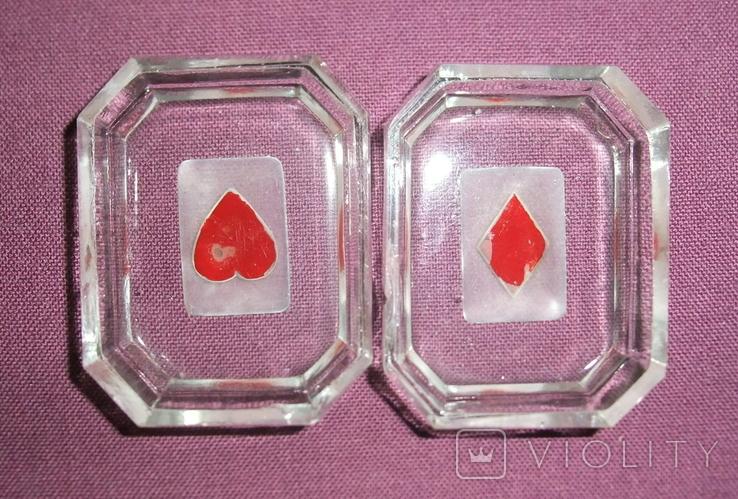 Пепельницы миниатюрные - Масти карт черви, бубна., фото №3