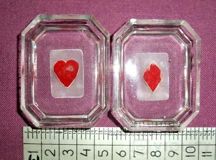 Пепельницы миниатюрные - Масти карт черви, бубна., фото №2