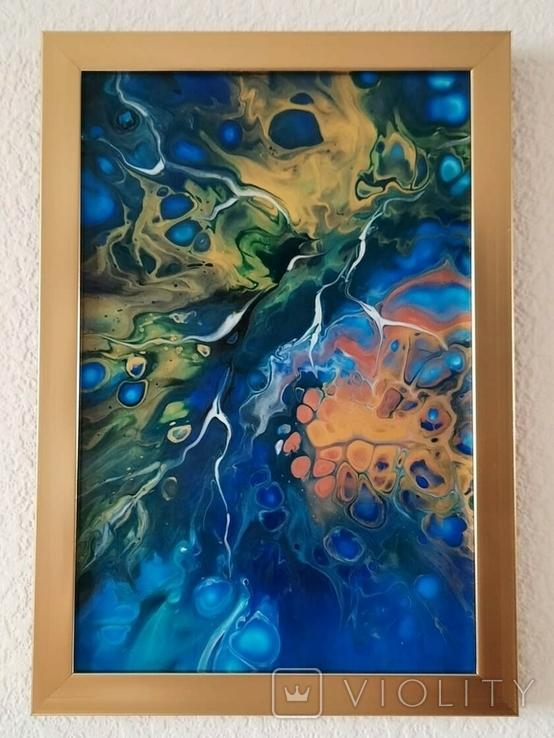 Картина/ живопис/ абстракція Fluid Art #74 acrylic, фото №6