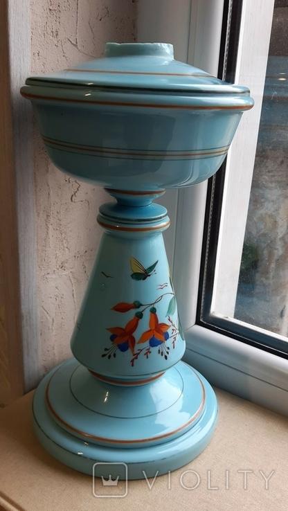 Керосиновая лампа Голубое стекло начало 20 века, фото №2