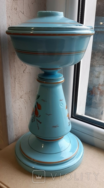Керосиновая лампа Голубое стекло начало 20 века, фото №6