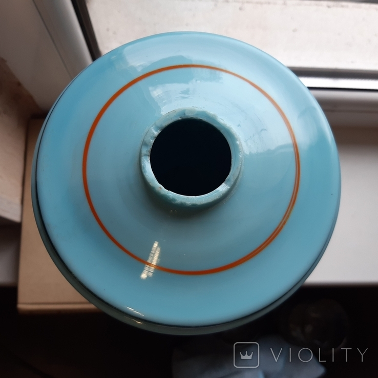 Керосиновая лампа Голубое стекло начало 20 века, фото №7