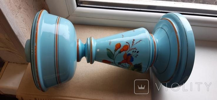 Керосиновая лампа Голубое стекло начало 20 века, фото №3