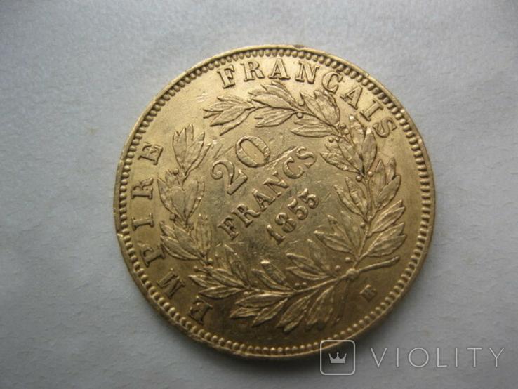 20 франков 1855 год Франция, фото №4