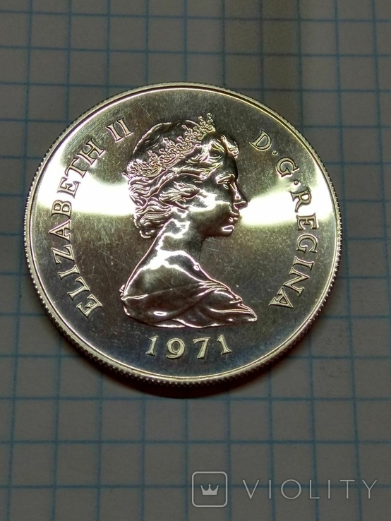 Гибралтар, 25 новых пенсов, 1971 год. Королева Елизавета II, фото №2