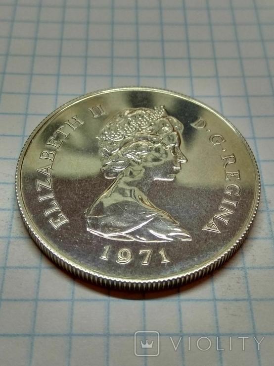 Гибралтар, 25 новых пенсов, 1971 год. Королева Елизавета II, фото №3