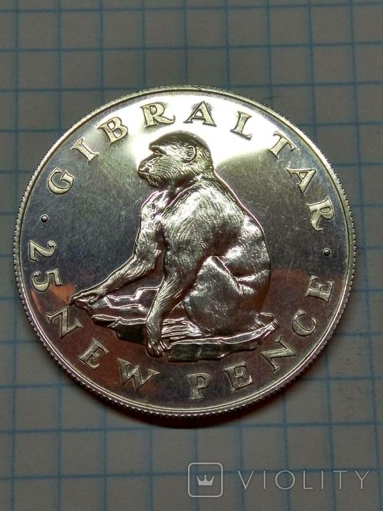 Гибралтар, 25 новых пенсов, 1971 год. Королева Елизавета II, фото №5