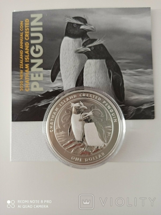 """New Zealand Срібна монета """"Пінгвін чубатий"""" 2020 1 унція, фото №2"""