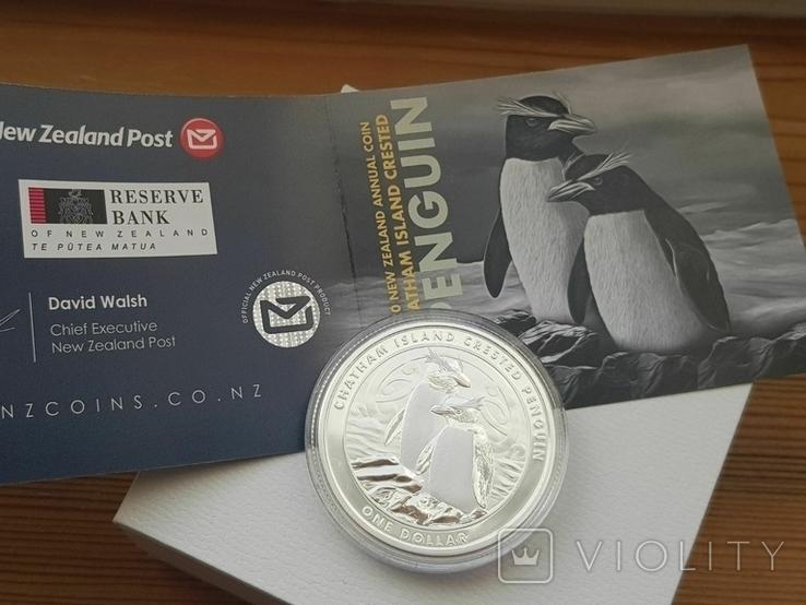 """New Zealand Срібна монета """"Пінгвін чубатий"""" 2020 1 унція, фото №7"""