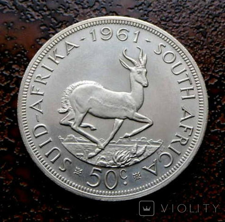 50 центов ЮАР Южная Африка 1961 состояние серебро, фото №3
