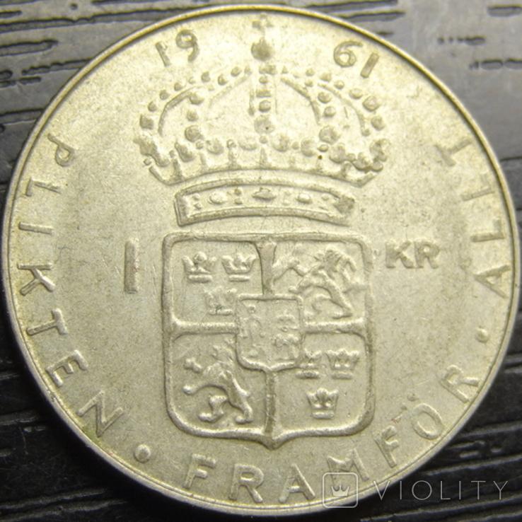 1 крона Швеція 1961 TS срібло, фото №2