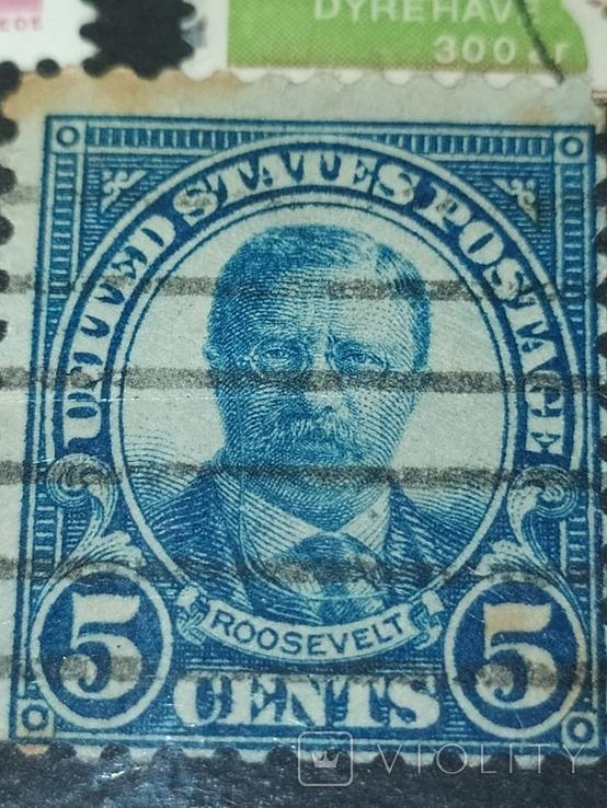 Cent Blue Roosevelt 10 перфораций сверху и снизу., фото №4
