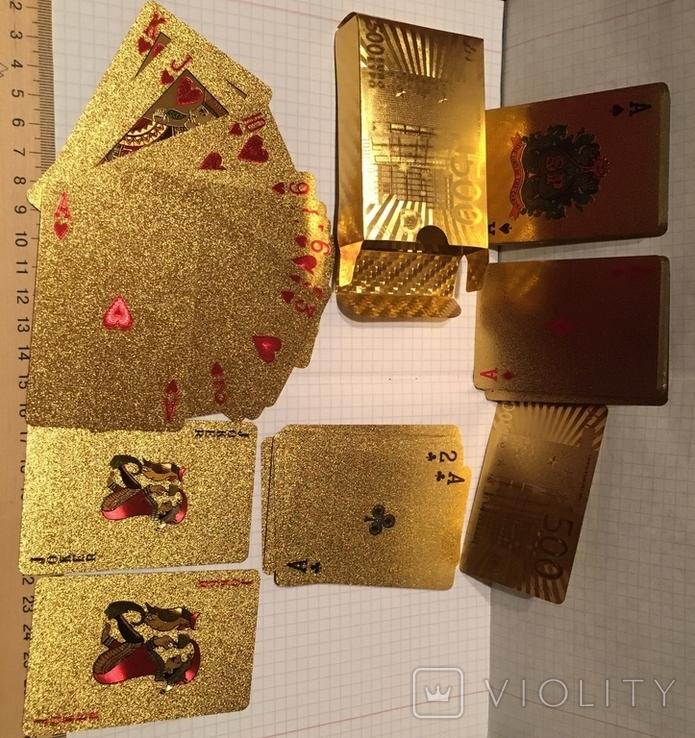 Позолоченные игральные карты (24K) 500 евро / сувенірні гральні карти, 54 шт, фото №3