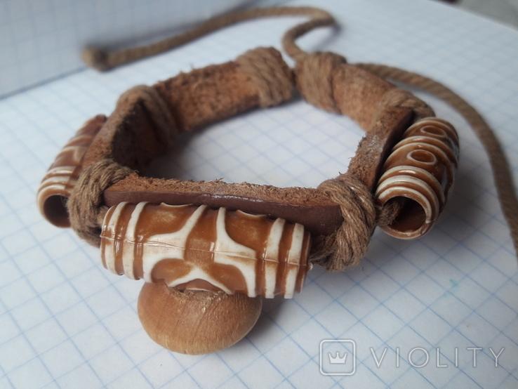 Кожаный браслет универсального размера, фото №3