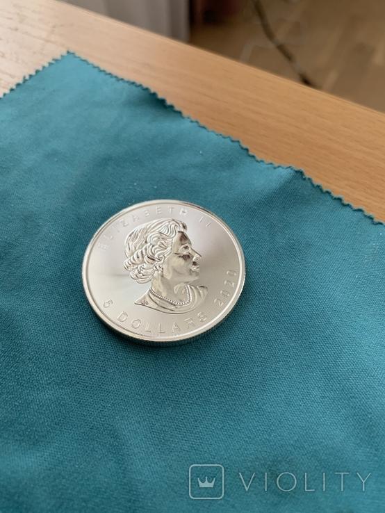 Канада 5 долларов 2020 унция серебро 999, фото №3