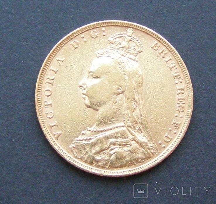 Монета Великой Британии 1 фунт (соверен) 1890 г., фото №2
