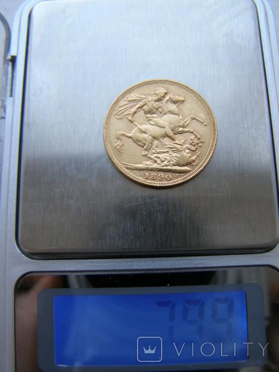 Монета Великой Британии 1 фунт (соверен) 1890 г., фото №5