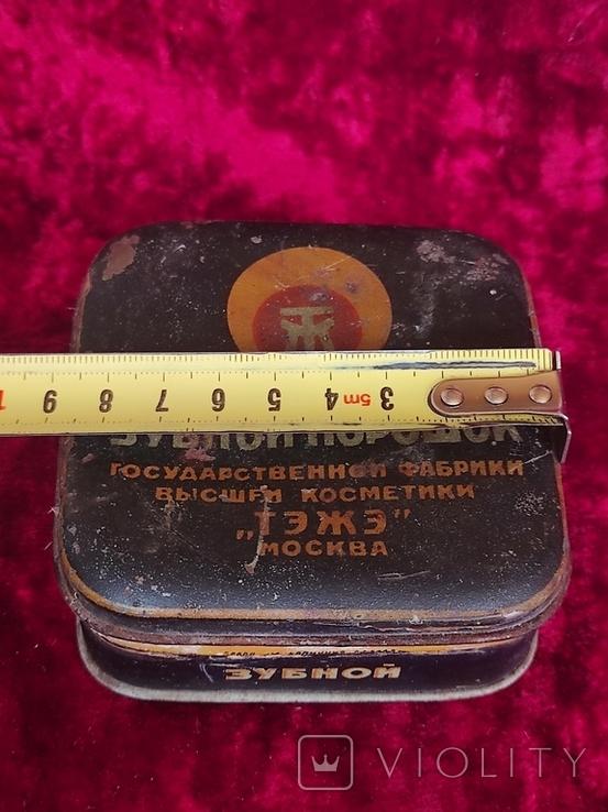 Жестяные банки СССР зубной порошок ТЭЖЭ Москва 2 шт. Лот 8, фото №11
