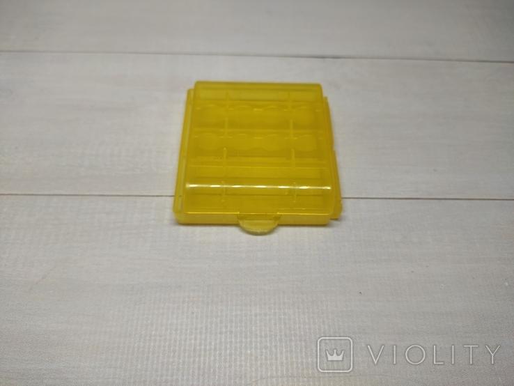 Коробка, бокс, кейс, Футляр для пальчиковых батареек АА или мини ААА Жёлтый