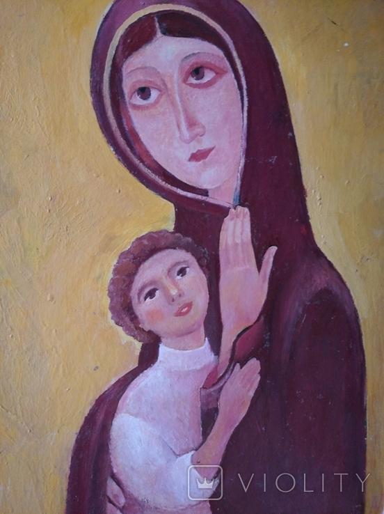 """Богородица"" к.м. 85х61см. 1997 г. Вл. Афанасьев, фото №8"