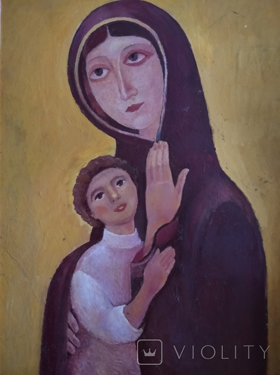 """Богородица"" к.м. 85х61см. 1997 г. Вл. Афанасьев, фото №10"
