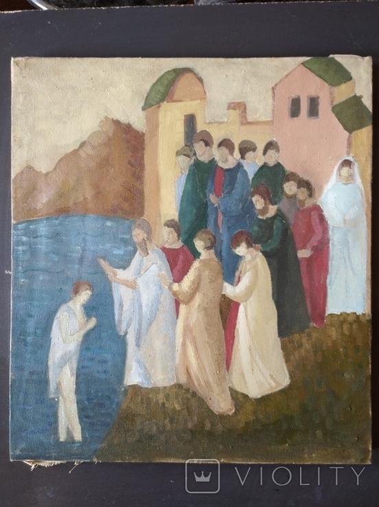 """""""Крещение"""" х.м. 51х45 см. НХ, фото №2"""