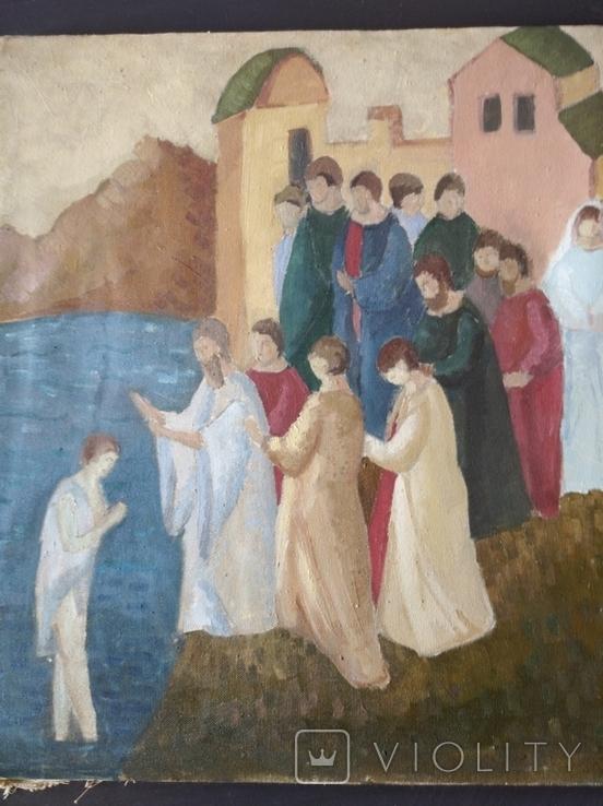 """""""Крещение"""" х.м. 51х45 см. НХ, фото №3"""