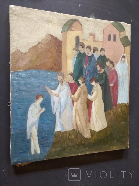 """""""Крещение"""" х.м. 51х45 см. НХ, фото №6"""