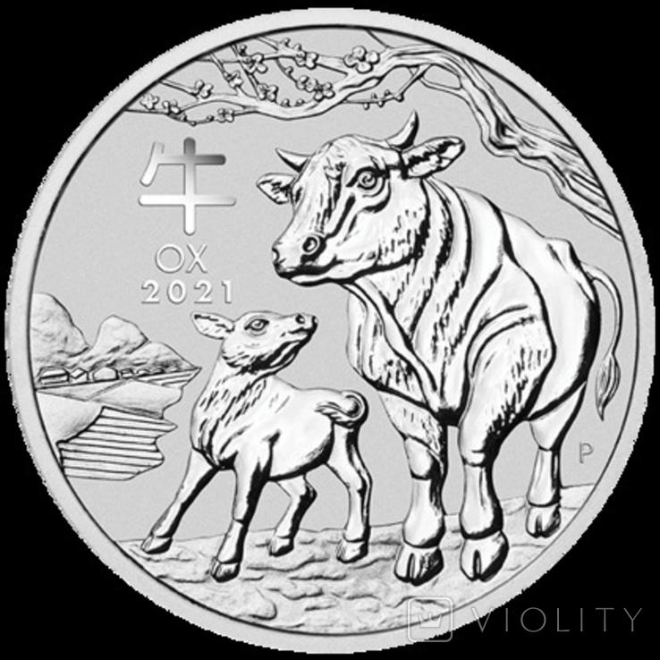 Lunar III Рік Бика 2021 Австралія 1 унція срібла, фото №2