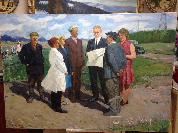 Картина СССР На рабочей планерке 1974 год, Янин Анатолий Александрович (1929-2001), фото №2