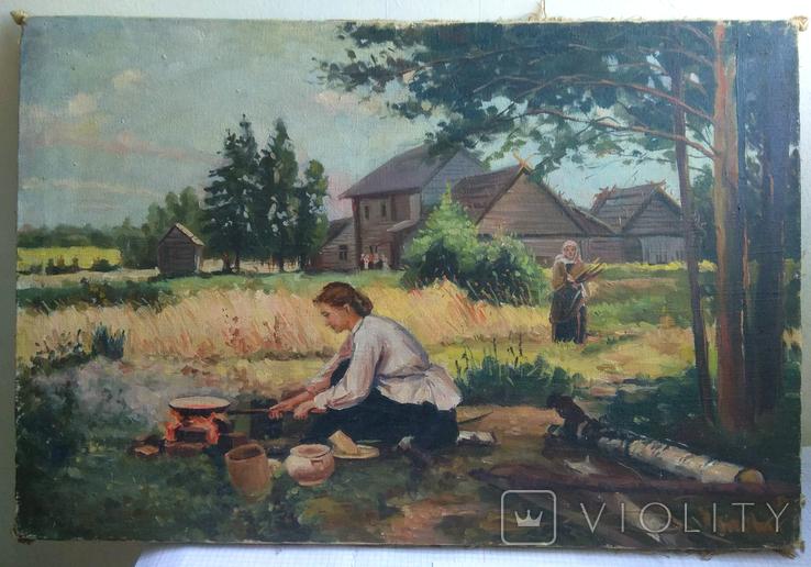 Картина Сельская жизнь 1960 годов . Копия, фото №2