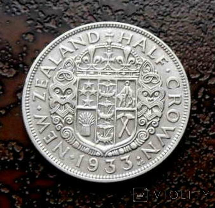 1/2 кроны Новая Зеландия 1933 серебро, фото №5