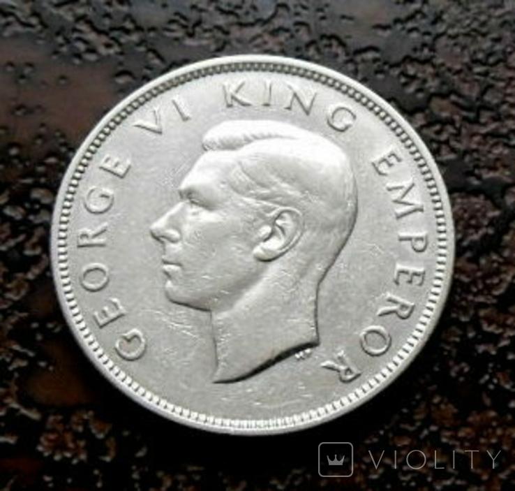 Флорин Новая Зеландия 1937 состояние серебро, фото №2