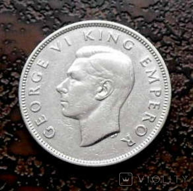 Флорин Новая Зеландия 1937 состояние серебро, фото №4