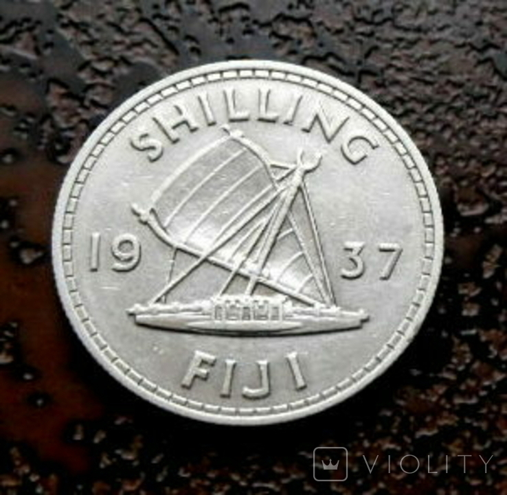 1 шиллинг Фиджи 1937 состояние серебро, фото №3
